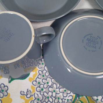 Arabia Finland TEEMA Kaj Franck set of 8 cups and saucers in dark gray, coffee set, tea set