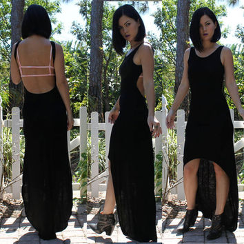 Backless High Low Maxi Dress  Black by dvcollection on Etsy