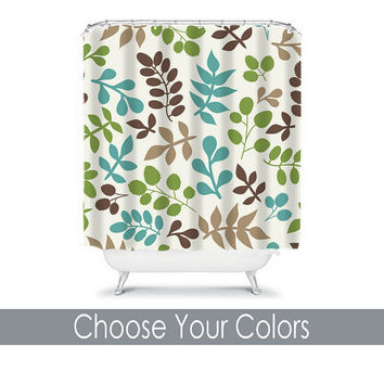 Flourish Turquoise Shower Curtain Monogram You Choose Colors Brown Biege Green Floral Leaf Pattern Bathroom Bath Polyester Made in the USA