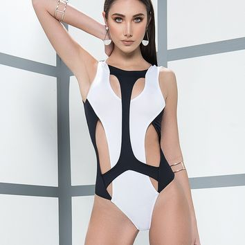 Contrast Cut-Out Bodysuit