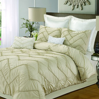 Chic Home Ella 5-piece Comforter Set, King Size, Champagne; Shams, Bedskirt and Decorative Pillow Included