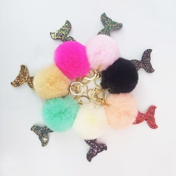 Keychain Glitter Mermaid Tail Key Chains Fur Pompom Ball Decorative Pendant Bag Accessories Car Keys Sequin Keyring GiftKawaii Pokemon go  AT_89_9