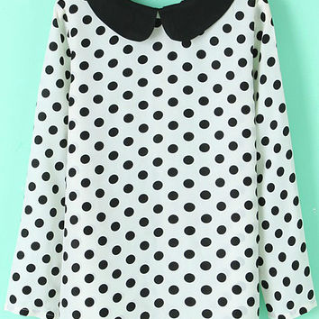 Black and White Polka Dot Long Sleeve Blouse with Collar