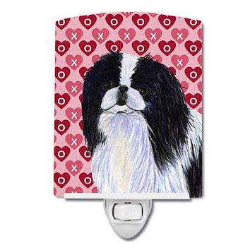 Japanese Chin Hearts Love and Valentine's Day Portrait Ceramic Night Light SS4467CNL