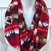 Christmas Handmade Scarf-Red Camping Moose Flannel Infinity Scarf-Bear Chunky Winter Scarf-Women's Aztec Tribal Print Scarf-Gifts For Her