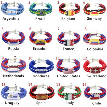 Russia World Cup National Camping Climbing Rescue Paracord Bracelets Parachute Cord Men Emergency Rope Survival Buckles 1 pcs