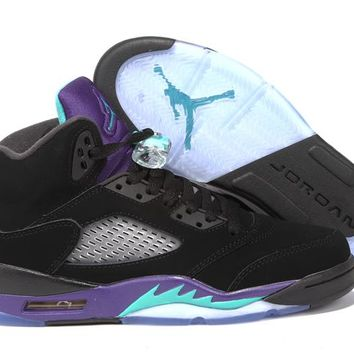 090f1efc180a51 Air Jordan Retro 5 BLACK GRAPE 5s Retro GS Black New Emerald Gra