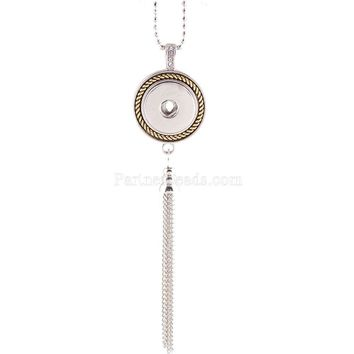 New Charm Chains Simple Round snap Necklace fit DIY 18MM ginger snap buttons jewlery wholesale KC0927