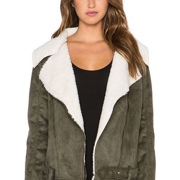 Somedays Lovin Young Folk Faux Sherpa Coat in Khaki