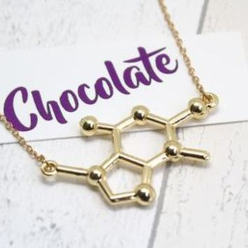 Gold Plated Chocolate Molecule Necklace
