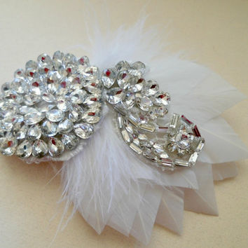 Art Deco, Great Gatsby, Wedding Hairpiece, Gatsby Wedding, 1920s, White, Bridal Head Piece, Rhinestone, Feather ,Vintage Wedding