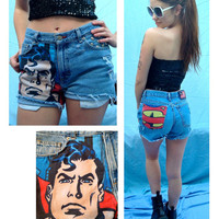"Superman HIgh Waisted Shorts Comic Fabric Denim Jeans Superhero Hipster Studded ""Your Size"" //SUZNEWS ETSY STORE//"