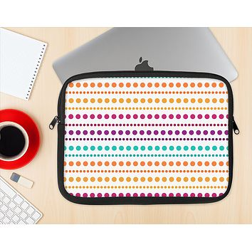 The Colorful Polka Dots on White Ink-Fuzed NeoPrene MacBook Laptop Sleeve
