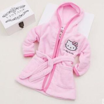 Spring Autumn Baby Soft Coral Fleece Bathrobe girls hello kitty Sleepwear Robe 2 - 8 Years Old Children