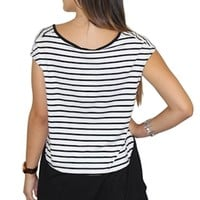 Black and White Striped Short Sleeve T-Shirt #top #tshirt #tee #stripes #blackandwhite #casual #streetwear