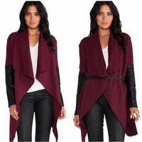 Leather Sleeve Wool  Asymmetrical Cardigan With Belt