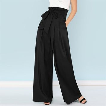 Self Belted Box Pleated Palazzo Long Pants Female Loose Elegant Work Trousers Women High Waist Wide Leg Pants