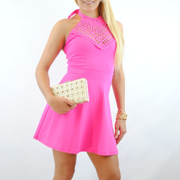 (anl) Halter crochet neck fushia dress