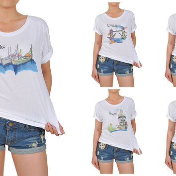 Women Watercolor famous place painting Printed Cotton T-shirt  WTS_12
