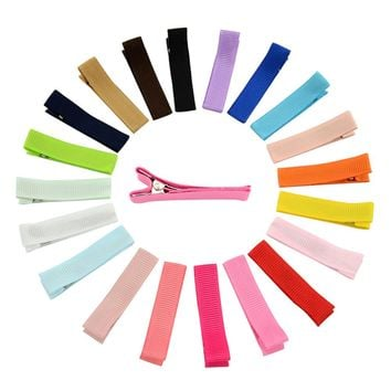 "20pcs Solid 1.8"" Grosgrain Colvered Hair Clips Barrettes DIY Accessories for Baby Girl Toddlers Kids Infant"