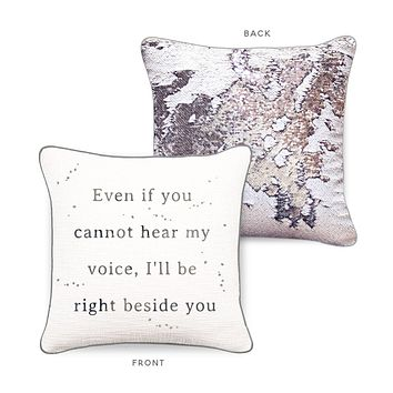 RIGHT BESIDE YOU Mermaid Pillow w/ White & Silver Sequins