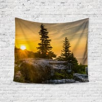Sunset Trees Woods Forest Trendy Boho Wall Art Home Decor Unique Dorm Room Wall Tapestry Artwork