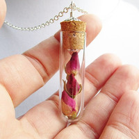 Three Dried Rose Buds Corked Glass Vial Terrarium Necklace in Silver, Real Flower, Nature Lover Gift