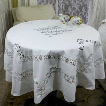 Linen & Lace Tablecloth, Drawn Work, Teneriffe Tenerife Lace, Matching Napkins, Cottage Chic Decor, French Country, 1910s 1920s, Antique