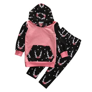 2PCS Toddler Kids Baby Girl Clothes Cute Deer Hooded Sweatshirt Top +Pant Outfit Fashion Children Suit Clothing Set 2-6Y