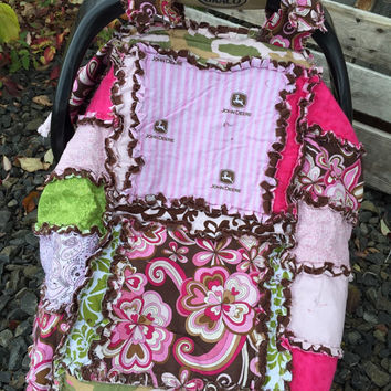 Flash SALE CAR SEAT Canopy with Tractors Pink, Brown, Baby Blanket, Ready to Ship