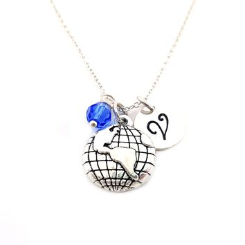 Globe Travel Personalized Sterling Silver Necklace