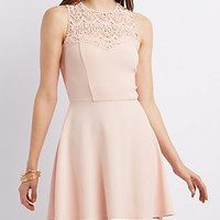 CROCHET NECK SKATER DRESS