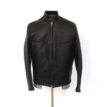 Vintage Mens 1960s Black Leather Jacket Size 38 Genuine Leather Jacket 1960s Cafe Racer Coat 1970s Motorcycle Jacket Bomber Jacket Small