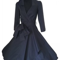 New 1950s Womens Vintage Retro Collar Swing Pleated Rockabilly Coat Jacket Dress