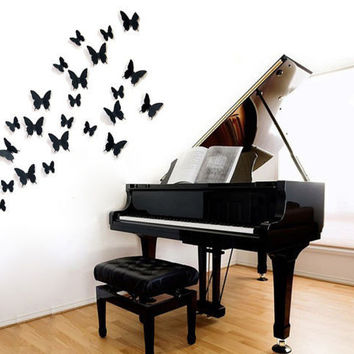 FoodyMine 12Pcs PVC 3D Wonderful Art Butterfly Design Wall Stickers Decals Home Decor Poster for Rooms wedding wall Decorations