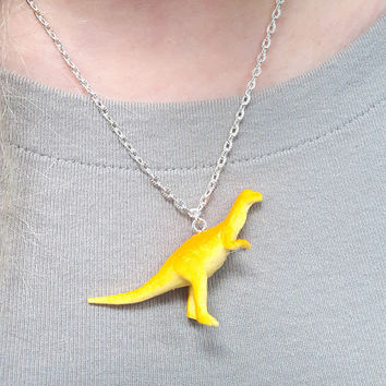 Yellow Dinosaur Necklace  Great Stocking Stuffer