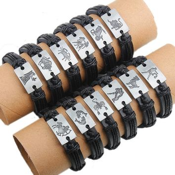 Zodiac Leather Jewelry Plate Bracelet