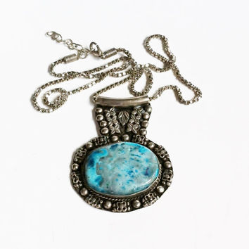 Blue Stone Pendant Necklace, Western Tribal Jewelry, Turquoise Blue Agate, Silver Box Chain, Vintage Costume Fashion Jewelry