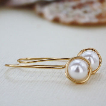 drop earrings glass pearl earrings nickel free by collscreations
