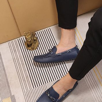 LV Louis Vuitton Men's 2019 New Vintage Leather Casual Loafer Shoes Blue Best Quality