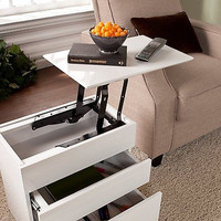 Southern Enterprises Calligan Lift Top Side End Table, WhiteTabletop Drawers New