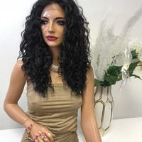 """Brown Deep Wave Hair with Middle Part Lace Front Wig 14"""" Layered Charity  0119 22"""