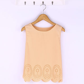 Summer Fashion Women Cropped Top Chiffon Tank Hollow Out Sleeveless Vest Plus Size Ladies Casual Blusa Feminina 6 Colors