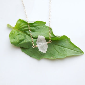 Herkimer Diamond Necklace in Gold - Raw Quartz Necklace
