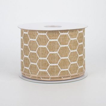 "Chicken Wire Design Ribbon Tan & White 2.5"" x 10 yards"