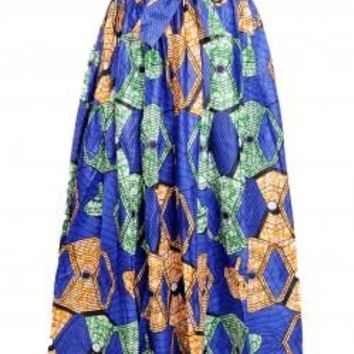 Ankara Traditional Wax Print Adjustable Strap Maxi West African Skirt (long) by Tolani