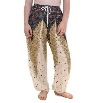White Peacock Harem Pants