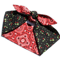 Vintage Inspired Head Scarf, Reversible, Cherries and Bandana Print, Retro Rockabilly