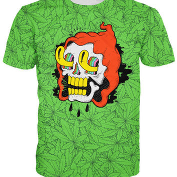 Druidz T-Shirt Hooded Skull Tripping on Piles of Pot Leaves