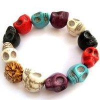 Mixed Color Howlite Turquoise Skull Beads Buddhist Prayer Bracelet Mala